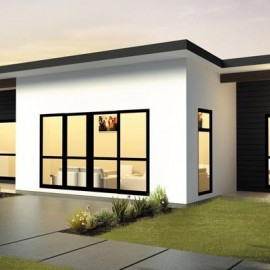 White and black home with lights on