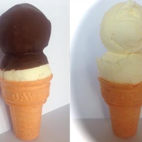 Plain and choc dipped ice cream cones