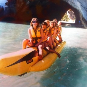 People on banana boat cathedral cove nz