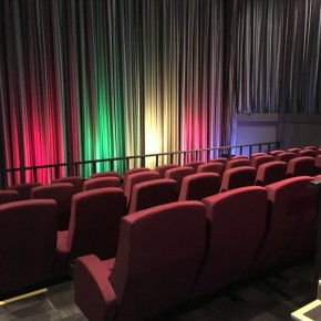 Cinema chairs and curtains