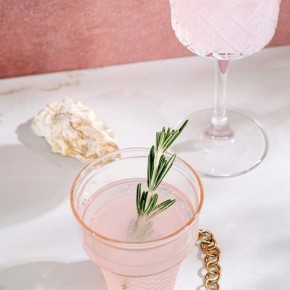 Pink drink in glass