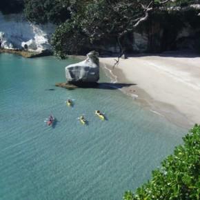 Kayaks in cove