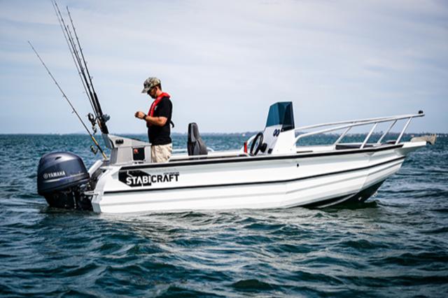 Man fishing in boat