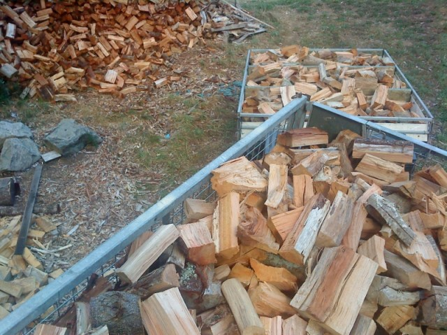 firewood in trailer