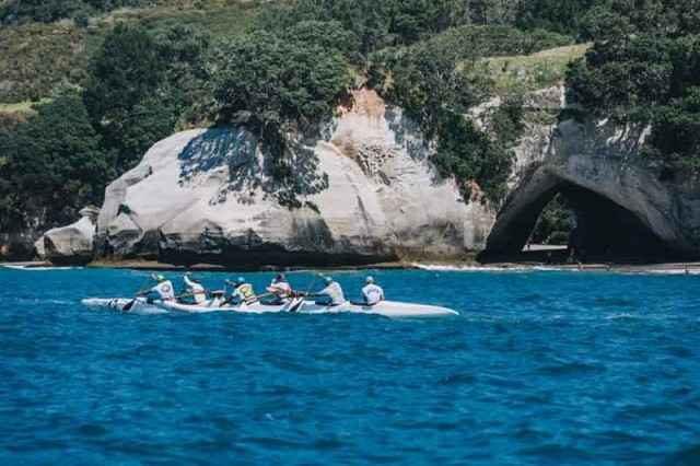 Waka in front of Cathedral Cove