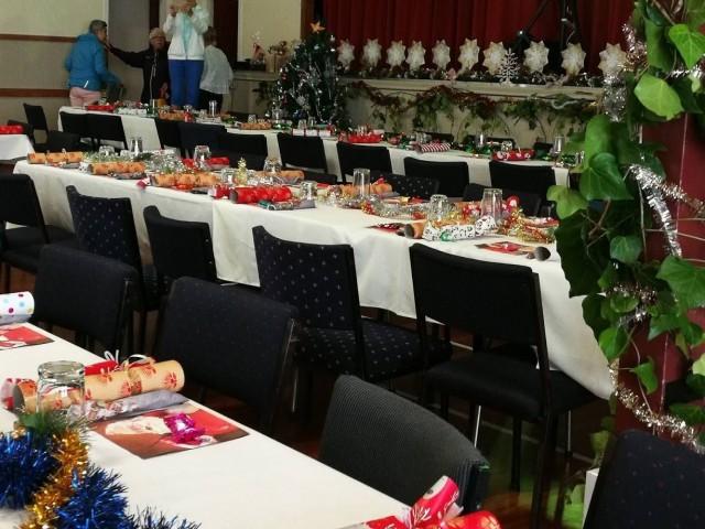 Community Christmas Dinner tables