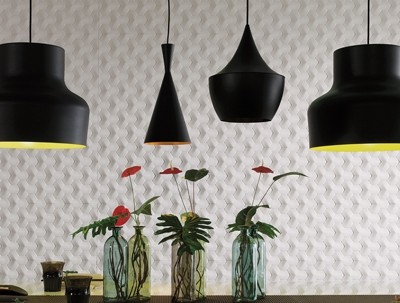 White tiles and black lamp shades