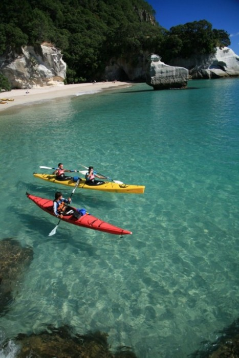 Kayaking Cathedral Cove, New Zealand