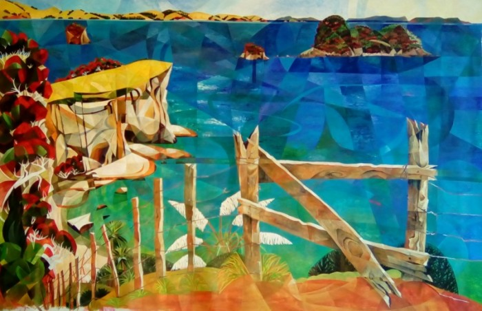"""SS Stingray Bay from the Souzie Speerstra """"Once Upon a Rainbow"""" exhibition at Bread and Butter Gallery in Whitianga"""