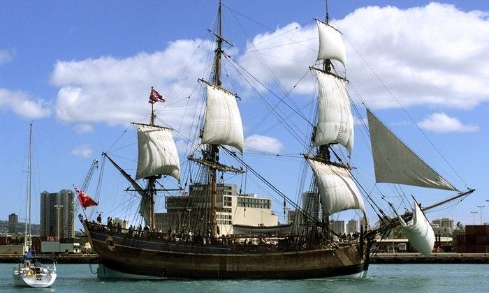 Replica of Captain Cooks Ship The Endeavour under Sail - photograph by Ronen Zilberman