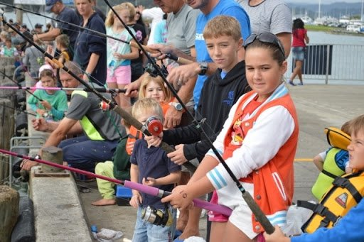 kids fishing competition Whitianga wharf